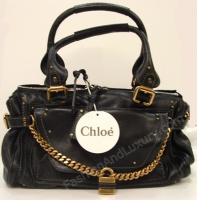 CHLOE' Woman's Leather Bag - Black - Medium size with block Chloè