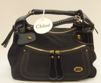 Chloè Woman Black Camoscio and Paint Leather Hand Bag