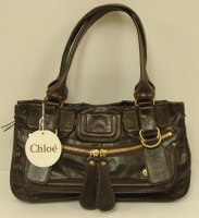Chloè Woman Dark Brown Leather Bay Hand Bag