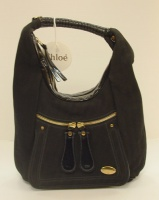 Chloè Woman Black Leather Bay and paint