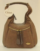 Chloè Woman Tortora Leather Bay with Paint Should Bag