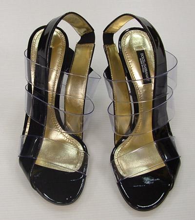 Dolce   Gabbana Scarpe Donna Sandalo Pvc Vernice Nero e Trasparente 557e4b8e39c