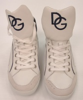 Dolce & Gabbana Men's  White and Blue  Leather Shoes Sneaker