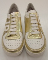 Jhon Richmond Unisex Whithe Gold Leather Shoes Sneaker  Richmond