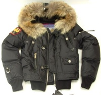Jacket Woman's Dsquared Black  Cap with Fur Goose Down